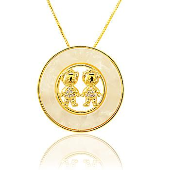 Colar Mandala Casal Meninos com Micro Zircônia e Madre Pérola Folheado Ouro 18K