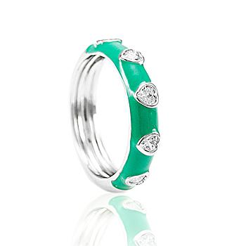 Anel Folheado Ródio com Zircônias Coração Cristal e Resina Turmalina Verde