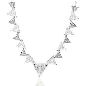 Colar Folheado Ródio com Cristal Triangular e Micro Zircônia Cristal