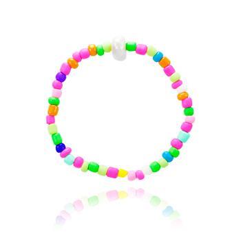 Pulseira com Miçangas Coloridas Neon e Pérola Oval no Centro