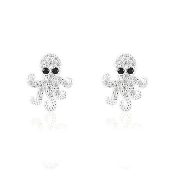 Brinco Prata 925 Polvo com Micro Zircônia Negra e Cristal