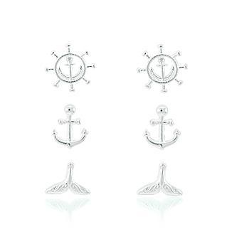 Brinco Prata 925 Trio Mar com Calda de Sereia, Timão e Ancora