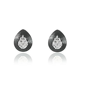 Brinco Prata 925 Gota com Micro Zircônia Cristal e Resina Negra