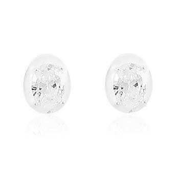 Brinco Prata 925 Oval com Zircônia Cristal e Resina Branca