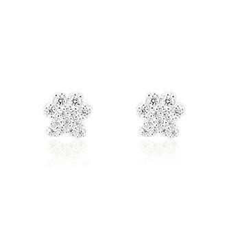 Brinco Prata 925 Flor com Micro Zircônia Cristal
