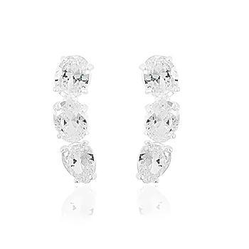 Brinco Prata 925 Ear Cuff com Pedras Ovais