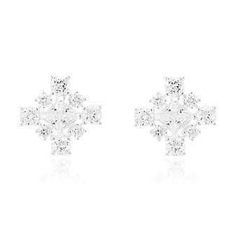Brinco Prata 925 Quadrado com Zircônia Cristal