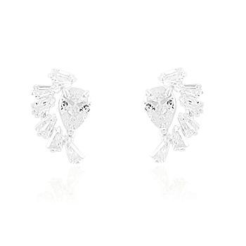 Brinco Prata 925 Ear Cuff com Zircônia Gota e Baguete Cristal