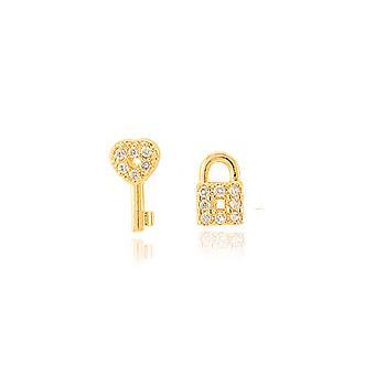 Brinco Chave e Cadeado Folheado Ouro 18K com Micro Zircônia Cristal