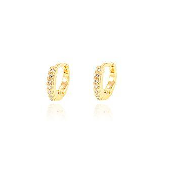 Brinco Argola Pequena Folheado Ouro 18K com Detalhes de Micro Zircônia Cristal