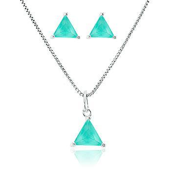 Conjunto Triângulo Folheado Ródio com Cristal Turmalina Verde Leitoso