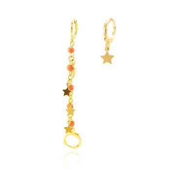 Brinco Argola Folheado Ouro 18K com Miçangas Laranjas e Estrelas