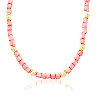 Colar Folheado Ouro 18K com Miçangas Quadradas Rosa e Pérolas