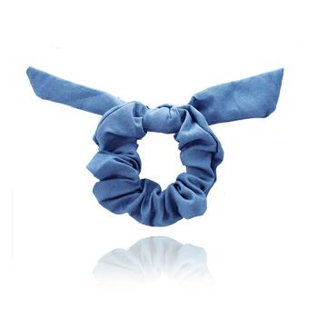 Scrunchie Laço Azul Jeans