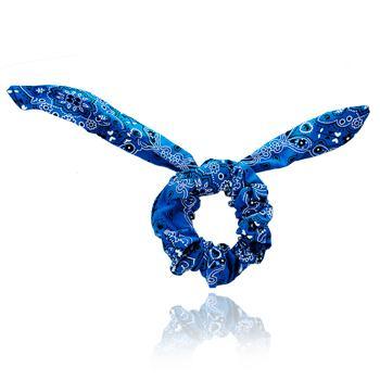Scrunchie Laço Azul com Detalhes Desenhados