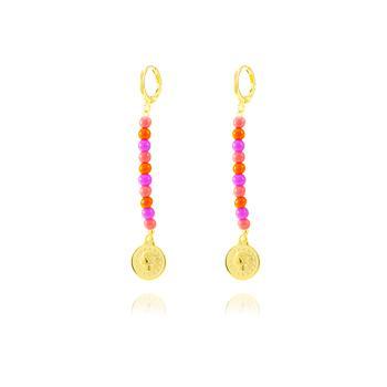 Brinco Folheado Ouro 18K com Miçangas Rosa Neon, Marrom e Roxo com Medalha