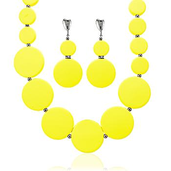 Conjunto Folheado Ródio Negro Círculos Amarelo