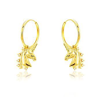 Brinco Argola Folheado Ouro 18K Unicórnio com Zircônia Cristal