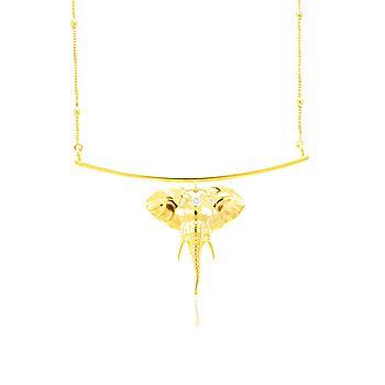 Colar Haste Folheado Ouro 18K Elefante com Zircônia Cristal Corrente e Bolinhas