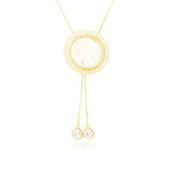 Colar Mandala Folheado Ouro 18K Zircônia Cristal com Arvore da Vida e Gotas na Ponta