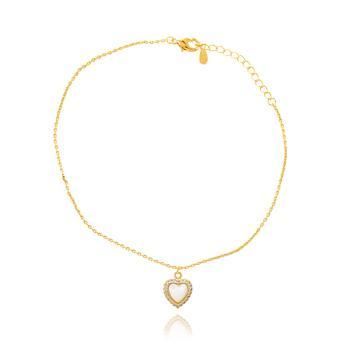 Pulseira Coração Micro Zircônia Cristal Folheado Ouro 18K com Madre Pérola no Centro