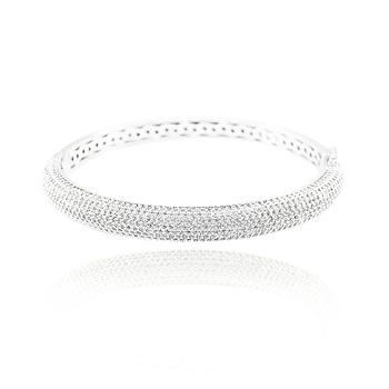Bracelete Folheado Ródio Micro Zircônia Cristal
