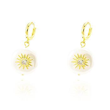 Brinco Argola Pérola Barroca Folheado Ouro 18K com Sol e Ponto de Luz Zircônia Cristal