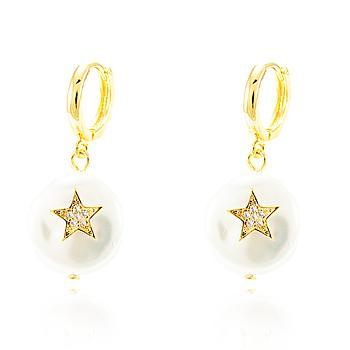 Brinco Argola Pérola Barroca Folheado Ouro 18K com Estrela e Micro Zircônia Cristal