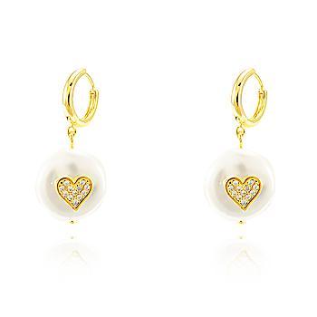 Brinco Argola Pérola Barroca Folheado Ouro 18K Coração com Micro Zircônia Cristal