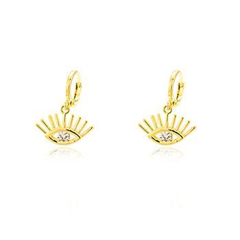 Brinco Argola Folheado Ouro 18K com Olho Grego e Ponto de Luz Zircônia Cristal