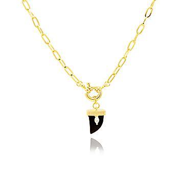 Colar Choker Folheado Ouro 18K com Dente Cristal Negro