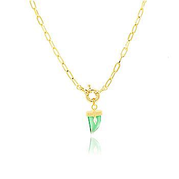 Colar Choker Folheado Ouro 18K com Dente Cristal Turmalina Verde