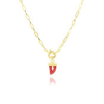 Colar Choker Folheado Ouro 18K com Dente Cristal Rubi