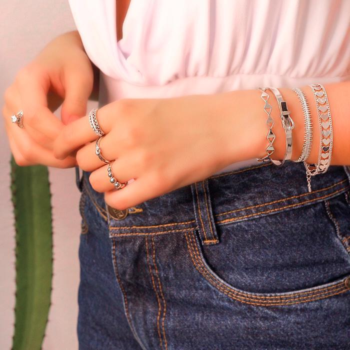 Bracelete Folheado Ródio Fivela de Cinto