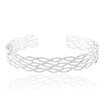 Bracelete Folheado Ródio com Detalhes Ovais Vazados