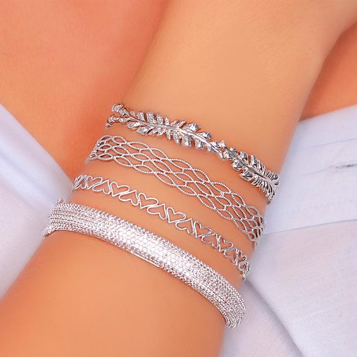 Bracelete Folheado Ródio Corações Vazado