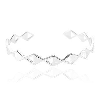 Bracelete Folheado Ródio Triângulos Lisos e Vazados