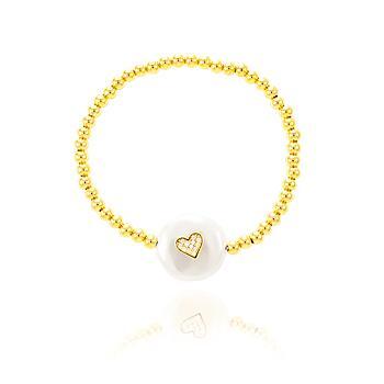 Pulseira ABS Folheado Ouro 18K com Pérola Barroca e Coração com Micro Zircônia Cristal