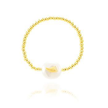 Pulseira ABS Folheado Ouro 18K com Pérola Barroca e Dente com Micro Zircônia Cristal