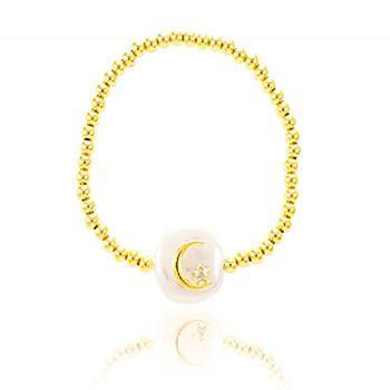 Pulseira ABS Folheado Ouro 18K com Pérola Barroca Lua e Estrela com Micro Zircônia Cristal