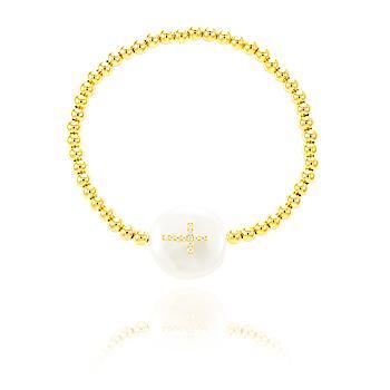 Pulseira ABS Folheado Ouro 18k com Pérola Barroca e Cruz com Micro Zircônia Cristal