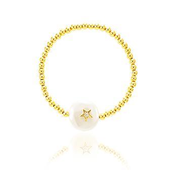 Pulseira Folheado Ouro 18K com Pérola Barroca e Estrela com Micro Zircônia Cristal