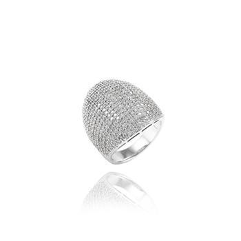 Anel Folheado Ródio com Micro Zircônia Cristal Oval