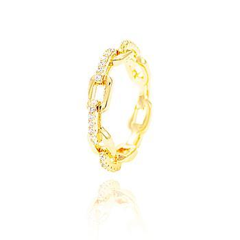 Anel Folheado Ouro 18K em Forma de Corrente com Micro Zircônia Cristal