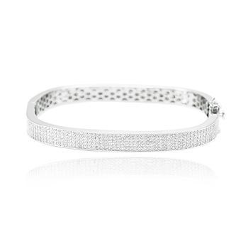 Bracelete Quadrado Folheado Ródio com Micro Zircônia Cristal
