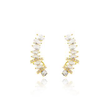 Brinco Ear Cuff Folheado Ouro 18K com Pedras Cristais e Micro Zircônia Cristal
