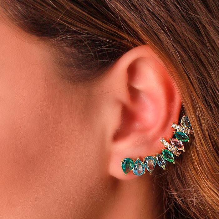 Brinco Ear Cuff Folheado Ouro 18K com Cristais Coloridos e Micro Zircônia