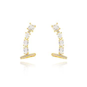 Brinco Ear Cuff Folheado Ouro 18K Base Pedra Quadrada e Pedras Ovais Cristais