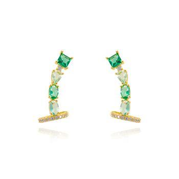 Brinco Ear Cuff Folheado Ouro 18K Base Pedra Quadrada e Pedras Ovais Cristal Colorido