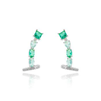 Brinco Ear Cuff Folheado Ródio Base Pedra Quadrada e Pedras Ovais Cristal Colorido
